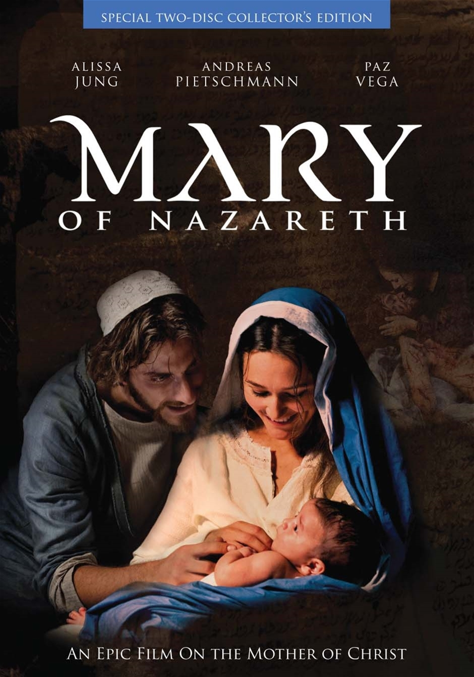 "Film ""Mary of Nazareth""'s cover portraying Joseph, Mary and Infant Jesus"